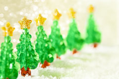 Christmas Tree Decoration on Snow, Xmas Trees Toys Stock Image