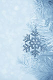 Christmas tree decoration snowflake. Vertical card Royalty Free Stock Photography