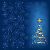 Christmas tree with decoration and snowflakes Stock Photography