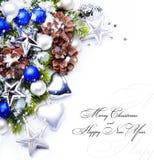 Christmas tree decoration snowflakes frame royalty free stock photos