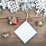 Christmas tree decoration and snowflakes Stock Photo