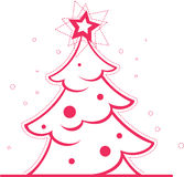 Christmas tree with decoration and star. Stock Photos