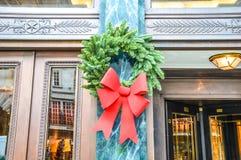 Christmas tree decoration on wall Royalty Free Stock Photos