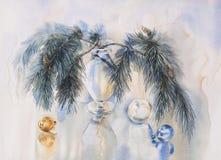 Christmas tree decoration watercolor illustration. Christmas tree with decoration, hand paint watercolor illustration for greeting card, invitation, decoupage Royalty Free Stock Photo