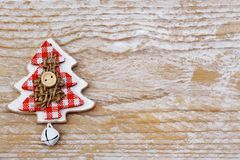 Christmas tree decoration on wooden background. Beautiful christmas tree decoration on wooden background vector illustration