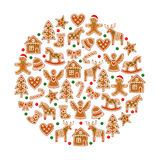 Christmas tree decoration. Xmas cookies collection - gingerbread cookies figures. On white background - Xmas tree, candy cane, angel, bell, stocking Royalty Free Stock Photo