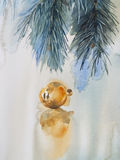 Christmas tree decoration yellow watercolor illustration. Christmas tree with decoration, hand paint watercolor illustration for greeting card, invitation Royalty Free Stock Images