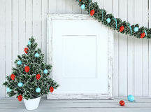 Christmas Tree Decorationon with empty frame Royalty Free Stock Images