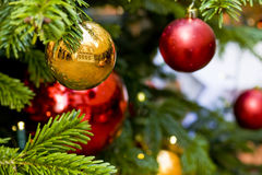 Christmas tree and decorations Stock Photo