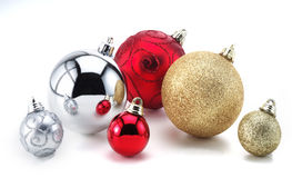 Christmas tree decorations. Photographer on a plain simple white isolated background Royalty Free Stock Photo