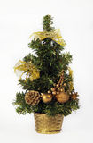Christmas tree with decorations. Christmas holiday tree with ornaments, isolated on white Stock Photo