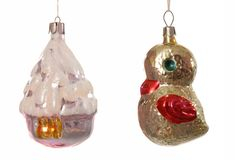 Christmas-tree decorations. Vintage christmas-tree decorations are on white background Royalty Free Stock Images