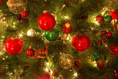 Christmas tree decorations. Closeup of Christmas tree decorations Royalty Free Stock Photography