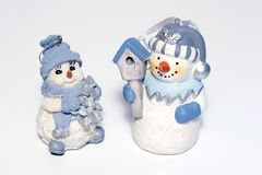 Christmas tree decorations. Two blue & white Christmas tree decorations Stock Images