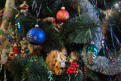 Christmas tree. Decorations on the Christmas tree Royalty Free Stock Photos