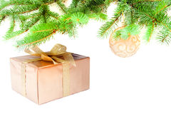 Christmas-tree decorations. And Christmas tree with the gift Royalty Free Stock Photos