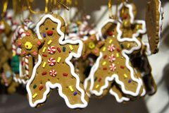 Christmas tree decorations. In a form of a funny gingerbread man Royalty Free Stock Photos