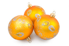Christmas-tree decorations. Three Christmas-tree toys on the white background Royalty Free Stock Images