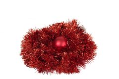 Christmas-tree decorations. Christmas-tree decoration, ball and tinsel for a holiday Royalty Free Stock Photography