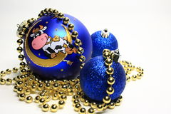 Christmas-tree decorations. Christmas-tree decoration with the image of a cow royalty free stock photography