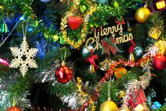 Christmas tree with decorations stock images