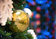 Christmas tree decorations and background Royalty Free Stock Image
