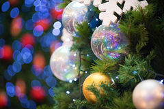Christmas tree decorations and background Royalty Free Stock Photography