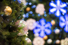 Christmas tree decorations and background Royalty Free Stock Images