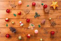 Christmas tree decorations, prepare for winter holidays background Royalty Free Stock Photo
