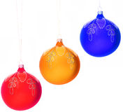 Christmas-tree decorations balls. On white Stock Photos