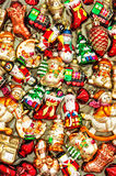 Christmas tree decorations baubles, toys and colorful ornaments Stock Images
