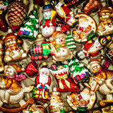 Christmas tree decorations baubles, toys and colorful ornaments Royalty Free Stock Photo