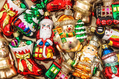 Christmas tree decorations baubles, toys and ornaments Royalty Free Stock Photo