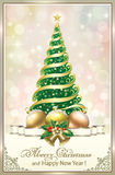 Christmas tree. With decorations on a beautiful background Royalty Free Stock Image