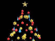 Christmas tree decorations - on black. Background Stock Images