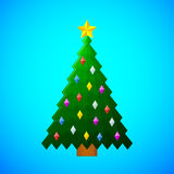 Christmas tree with decorations on blue background Royalty Free Stock Images