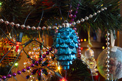 Christmas tree decorations - blue glass fir cone Royalty Free Stock Photos