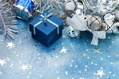 Silver balls, drum and blue small gift box. christmas tree decor Royalty Free Stock Photography
