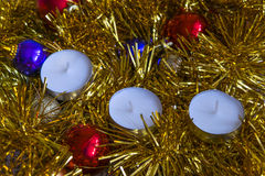 Christmas tree decorations. And candles Royalty Free Stock Images