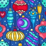 Christmas tree decorations cartoon seamless pattern Royalty Free Stock Photos