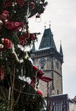Christmas tree with decorations and cathedral, Prague, Czech Republic stock photo
