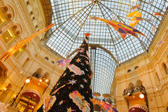 Christmas tree and decorations on the Christmas fair in Moscow Stock Photos