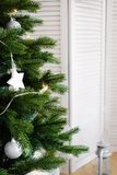 Christmas tree with decorations stock photography