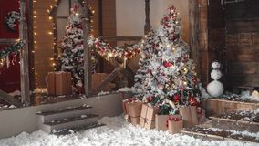 Christmas tree. Christmas decorations close-up. garlands and New Year`s toys stock video footage