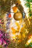 Christmas-tree decorations. Close up. Royalty Free Stock Photos