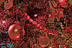 Christmas Tree Decorations. Closeup of a Christmas tree with lights and decorations Royalty Free Stock Image