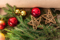 Christmas tree decorations closeup, prepare for winter holidays background Royalty Free Stock Image