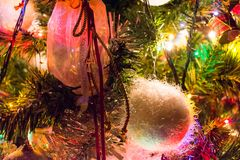 Christmas-tree decorations closeup Royalty Free Stock Photo