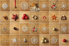 Christmas tree decorations collage Stock Photography