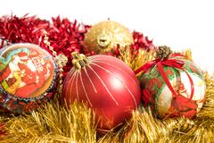 Christmas tree decorations, colorated red and gold balls isolate stock image